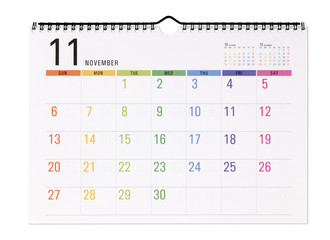 Colorful calendar with clipping path