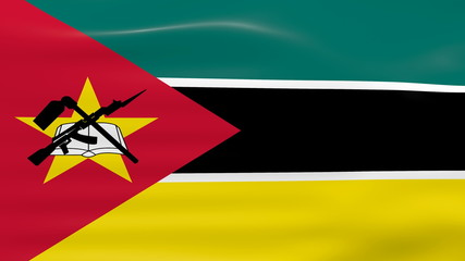 Waving Mozambique Flag, ready for seamless loop.