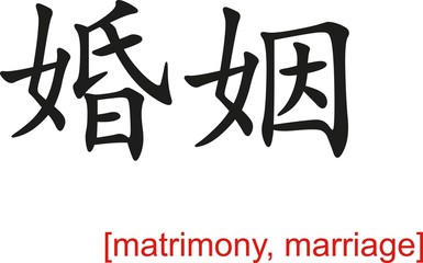 Chinese Sign for matrimony, marriage