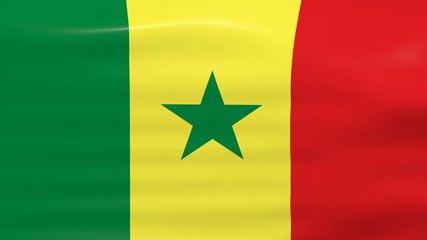 Waving Senegal Flag, ready for seamless loop.