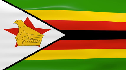Waving Zimbabwe Flag, ready for seamless loop.