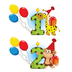 first second birthday with animal - vector  illustration, eps