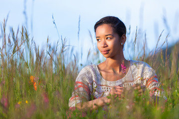Outdoor portrait of a young African American teenage girl