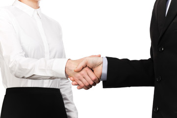 Photograph of a handshake between a waitress and a businessman