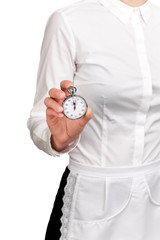 Photograph of a bust of a waitress holding a stopwatch