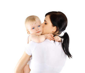 Baby and mom on a white background, happy family