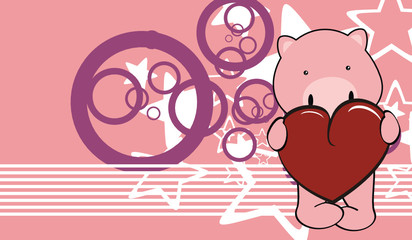 pig baby cute love cartoon background