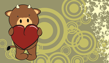 bull baby cute cartoon valentine background