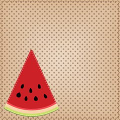 A slice of watermelon, on a polka dot background