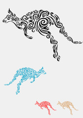 Kangaroo. Art vector ornament.