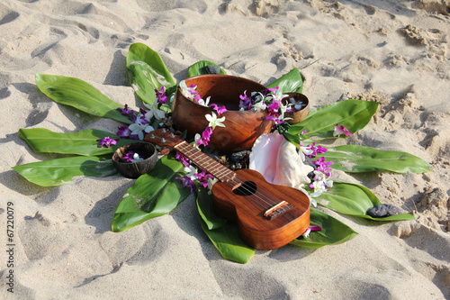Hawaiian theme arrangement on a beach - 67220079