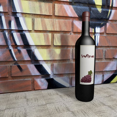 bottle of wine 3d illustration