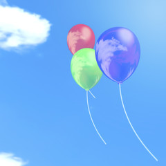 illustration of balloons under a blue sky