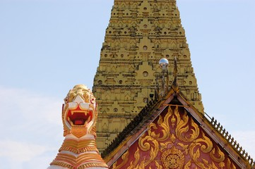 Burmese temple with lion in Sangkhlaburi, Thailand