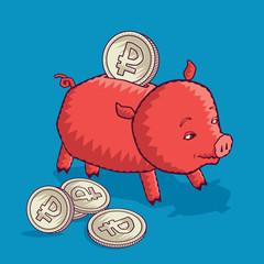 Свинья-копилка с рублями