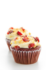 Red cupcake velvet isolated white background