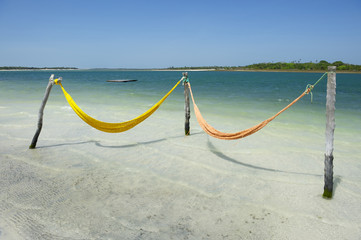Empty Net Hammocks Tropical Brazilian Beach Sea