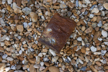 Crumpled and rusty tin can