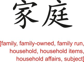 Chinese Sign for family, family-owned, family run, household