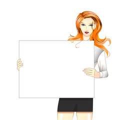 Women hold white board 2