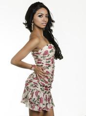 Beautiful exotic young woman wearing dress