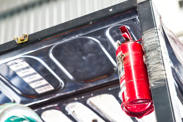 Fire extinguisher in workplace of Forklift