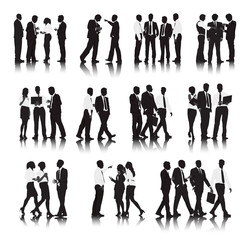 Silhouettes of Business People in a Row Working