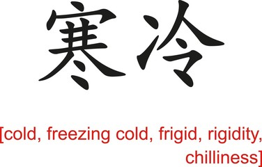 Chinese Sign for cold, freezing cold,frigid,rigidity,chilliness