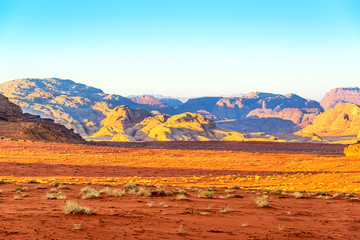 Scenic Wadi Rum n Jordan on January 1, 2014 at early-morning.