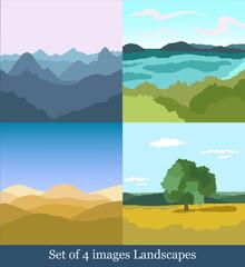 set of 4 vector images Landscapes