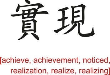 Chinese Sign for achieve, noticed, realization, realize
