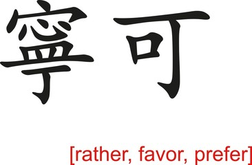 Chinese Sign for rather, favor, prefer
