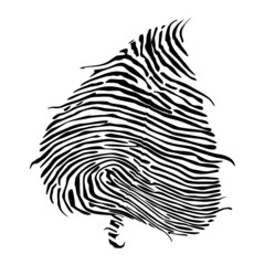 Concept of people eco-friendly, Fingerprint on leaves