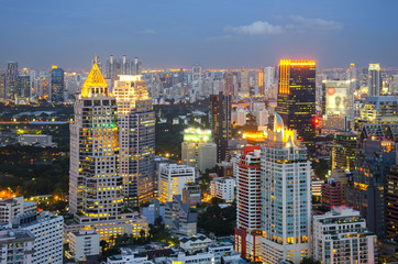 Bangkok city night view with nice sky
