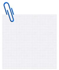 trombone bleu sur carré de papier bloc-notes