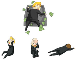 Businessman funny reaction in financial crisis situation cartoon