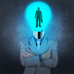 businessman light bulb head choosing people icon as human resour