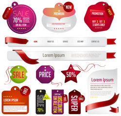 Red modern tags, labels, and headers design with sample text (ve