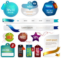 Blue modern tags, labels, and headers design with sample text (v