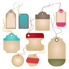 Modern glossy brown tag and labels design (vector)