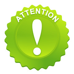 attention sur bouton web denté vert