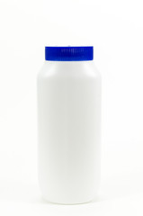 white plastic bottle on isolated white background