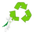 Green Superhero with Recycling Symbol
