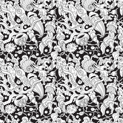Deep sea monsters seamless pattern