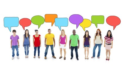 Multiethnic Group of Teenagers with Speech Bubbles