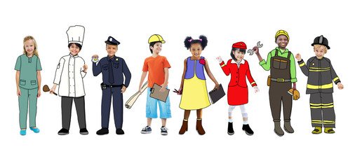 Children Wearing Future Job Uniforms