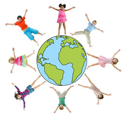 Children with Arms Raised and Earth Symbol