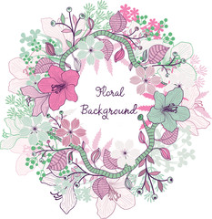 Floral frame. Vector background