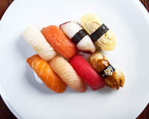 Japanese sushi with rice and fish