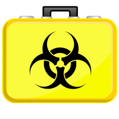 Bag with biohazard symbol